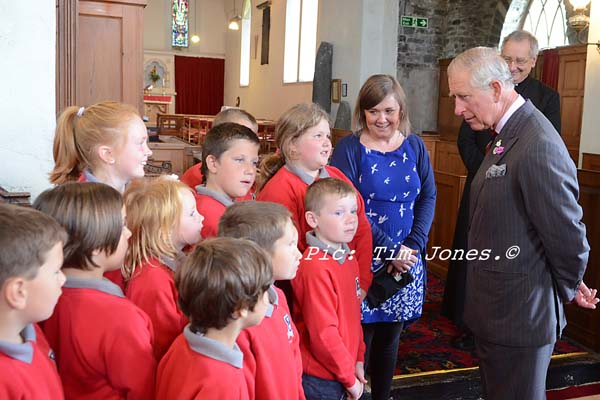 Ysgol Henry Richard Pupils meeting HRH The Prince of Wales in St David's Church
