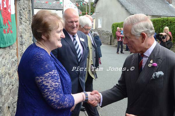HRH The Prince of Wales greeting Landlady of The New Inn and Chairman of The Pub is the Hub
