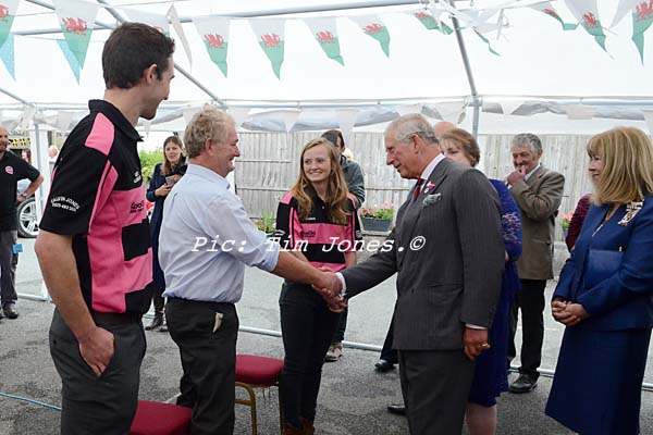 HRH The Prince of Wales meeting friends of the landlady and members of Llanddewi Brefi Young Farmers Club in the marquee at The New Inn