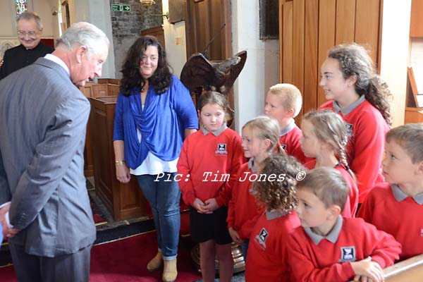 Ysgol Henry Richard Pupils meeting HRH The Prince of Wales in St David's Church-2