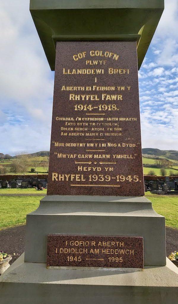 Llanddewi Brefi War Memorial-West face