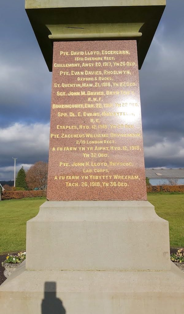 Llanddewi Brefi War Memorial-south face