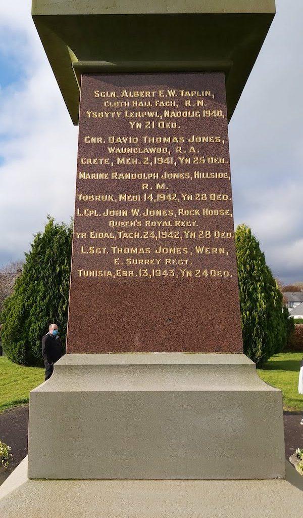 Llanddewi Brefi War Memorial-East face