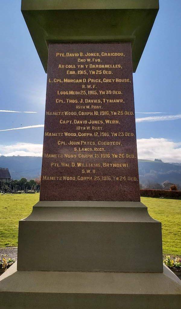 Llanddewi Brefi War Memorial-North face